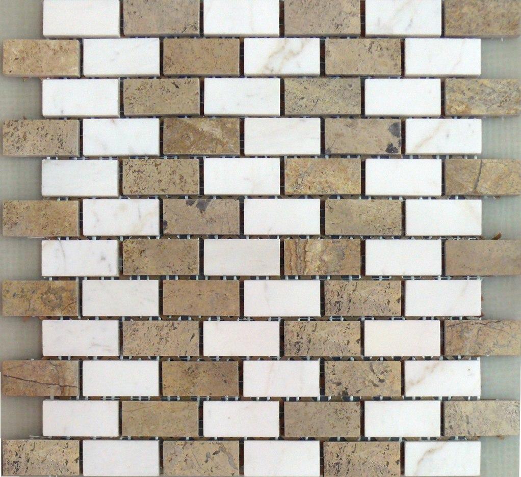 Đá Mosaic tự nhiên mầu trắng carrara và nâu be MR-1.36/B