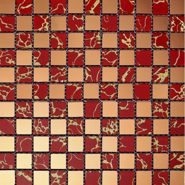 Gạch mosaic màu vàng đỏ hoa văn rồng AL105