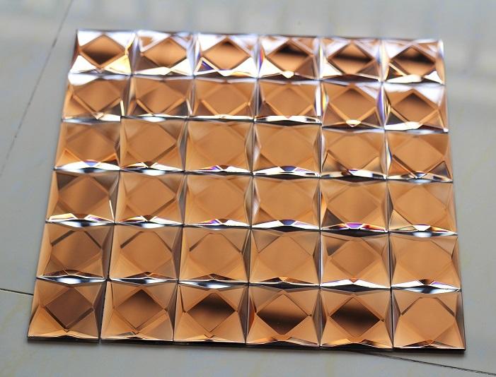 Gạch mosaic vát 9 cạnh màu nâu trà kích thước 50x50mm AL901