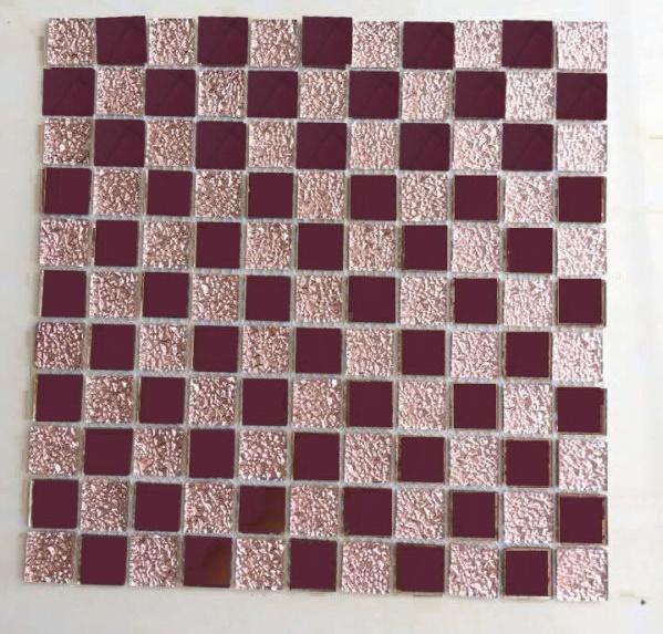 Gạch mosaic thủy tinh tím hồng trà kích thước 50x50mm AL109