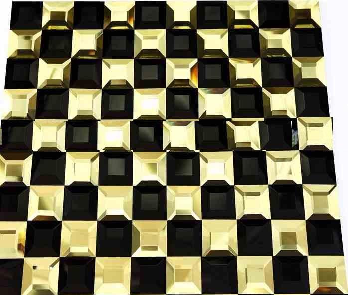 Gạch mosaic vát 4 cạnh màu vàng đen kích thước 30x30mm AL401