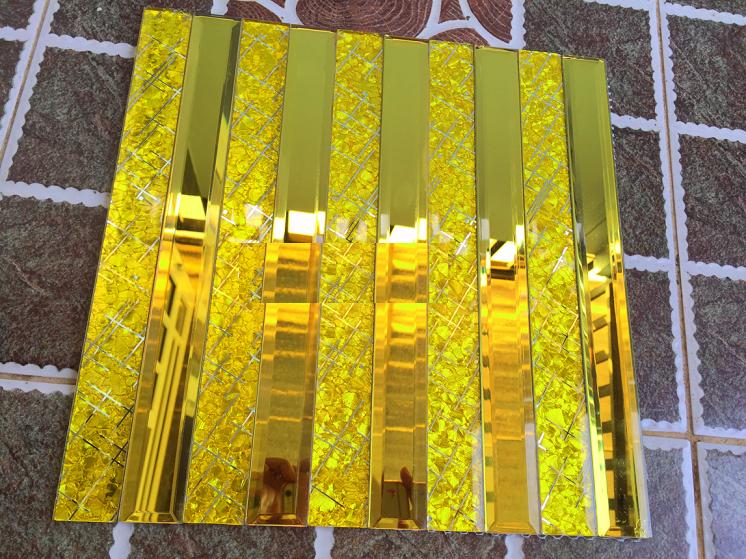 Gạch mosaic thủy tinh màu vàng cao cấp AL406