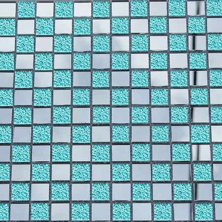 Gạch mosaic thủy tinh trắng xanh kích thước 30x30mm AL110