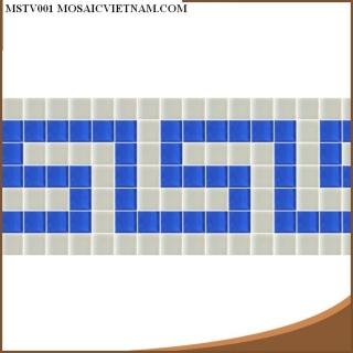 Mosaic thủy tinh tạo hoa văn MSTV001