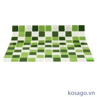 Gạch Mosaic thủy tinh trắng xanh 25x25mm BM254ĐT2