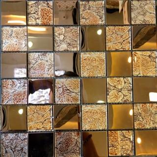 Gạch Mosaic kính kết hợp Alumium GM 3221